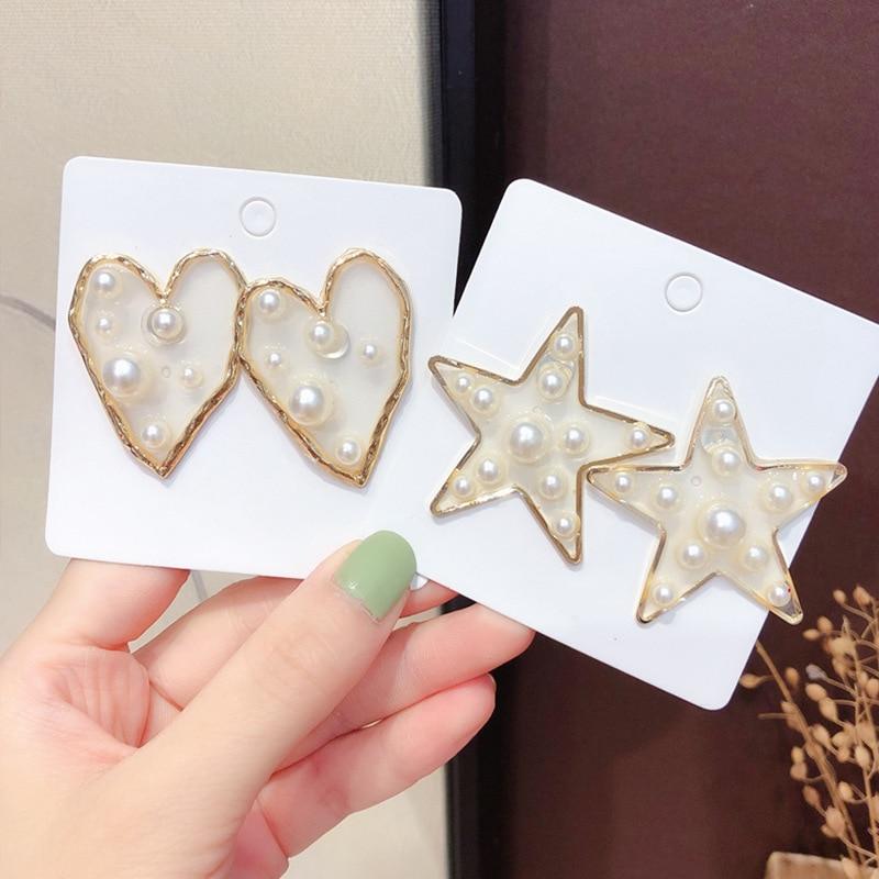 Big Heart Star Simulated Pearl Stud Earrings For Women Korean Jewelry Wild Sweet Transparent Resin Pendientes Girl Gift