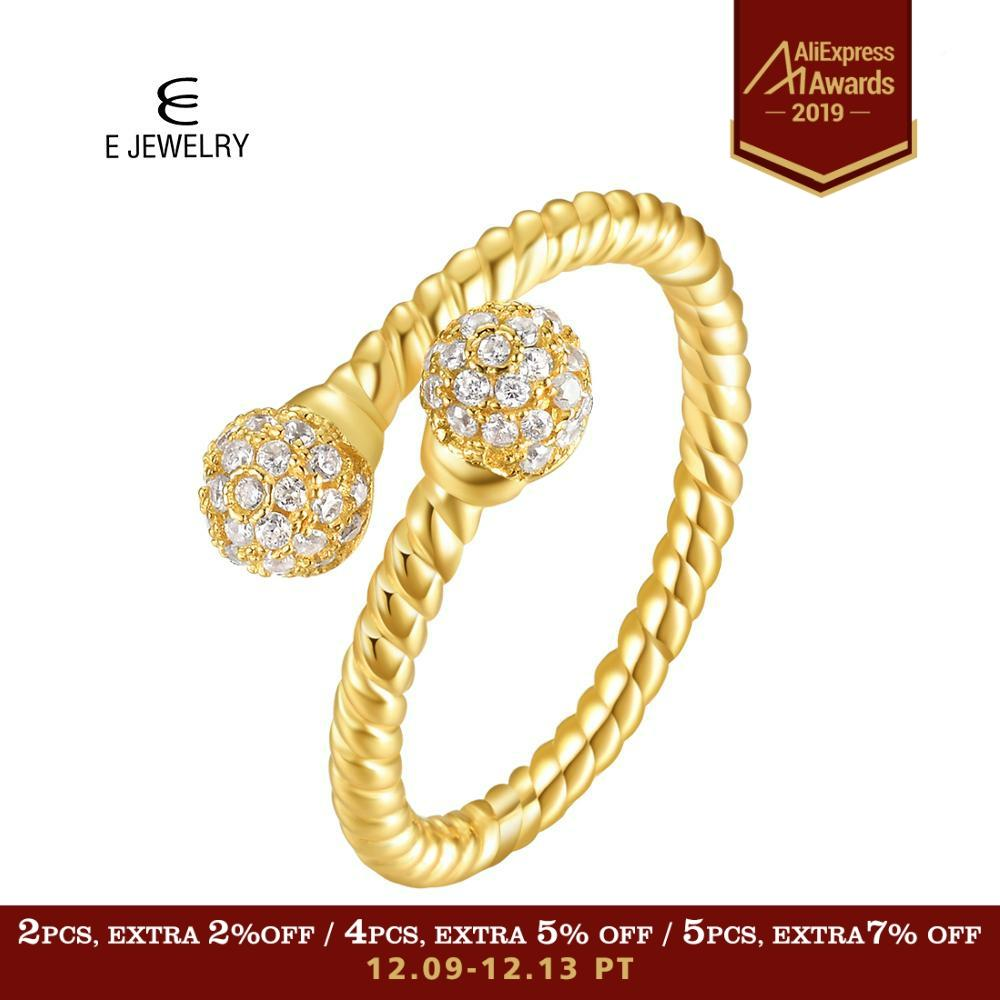 E Jewelry 925 Sterling Silver Opening Ring For Women 14K Gold Plated Adjustable Ball Cubic Zirconia Twisted Rope Stacking Rings