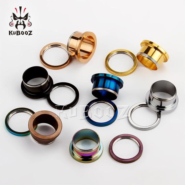 KUBOOZ Popular Stainless Steel Ear Piercing Tunnels Ring Plugs Gauges Screw Expanders Fashion Body Jewelry Unisex Earrings 2PCS 6