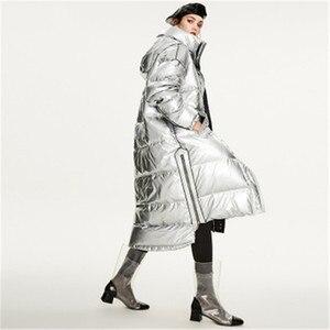 Женский длинный пуховик, черный или серебристый цвета, свободная верхняя одежда, зима 884