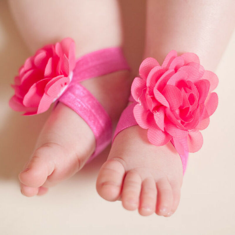 Newborn Baby Photo Prop Wrist Flower Foot Band Barefoot Baby Sandals Shoes Photo Decoration Accessories One Size