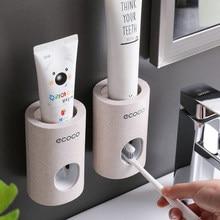 Ecoco automático dispensador de pasta de dentes à prova de poeira suporte de escova de dentes trigo palha fixado na parede creme dental squeezer para banheiro