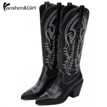 Купить с кэшбэком Haoshen&Girl Winter Women Mid-calf Cowboy Boots High Heel Pointed Toe Keep Warm Black Ladies Western Riding BootsPlus Size31-47