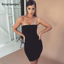 Bangniweigou Sleeveless Spaghetti Strap Slip Dress Daily Basic Night Party Celeb Mini Solid Dress El