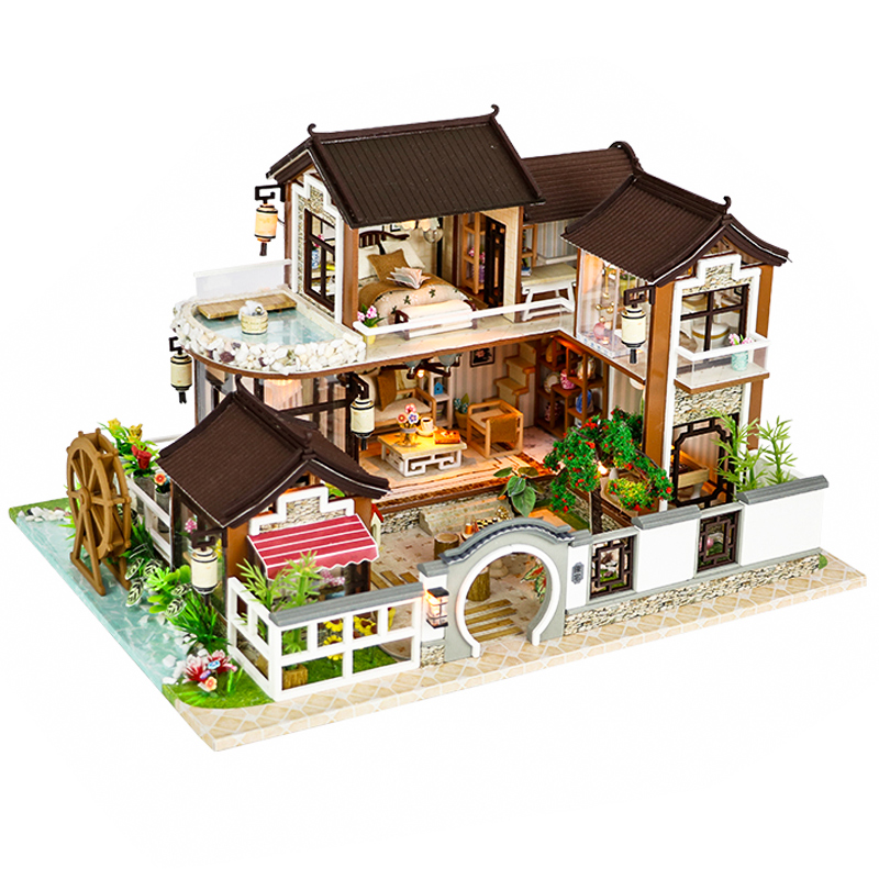 CUTEBEE Doll House Miniature DIY Dollhouse With Furnitures Wooden House Countryard Dweling Toys For Children Birthday Gift 13848