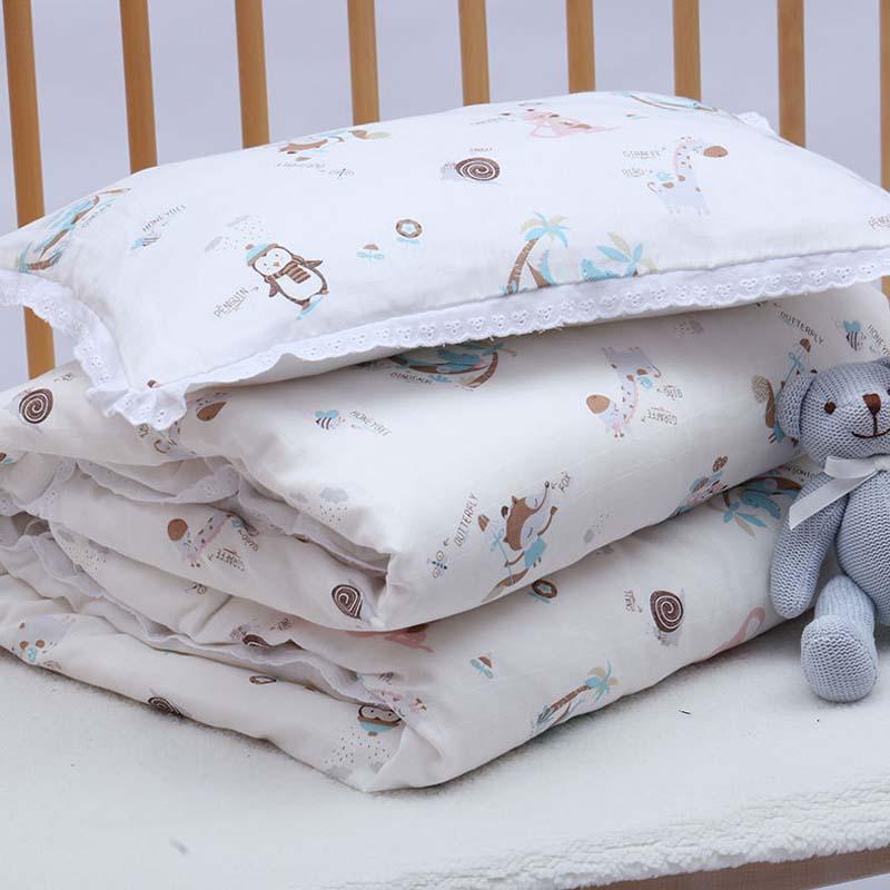 4Pcs/set Cotton Crib Bed Linen Kit For Boy Girl Cartoon Baby Bedding Set Includes Quilt Cover Core Pillowcase Pillow Inner