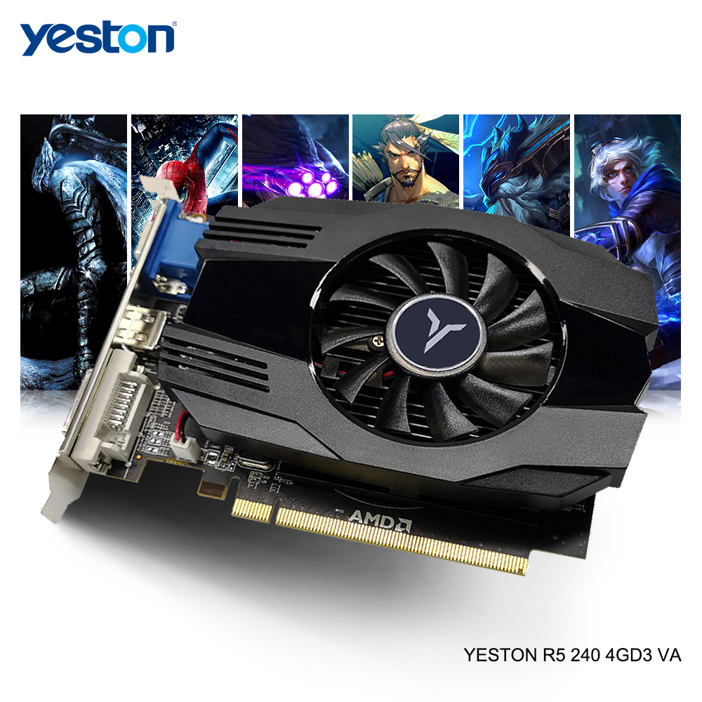 Yeston Radeon R5 240 <font><b>GPU</b></font> <font><b>4GB</b></font> GDDR3 64bit Gaming Desktop PC Video Graphics Cards support VGA/DVI-D/HDMI image