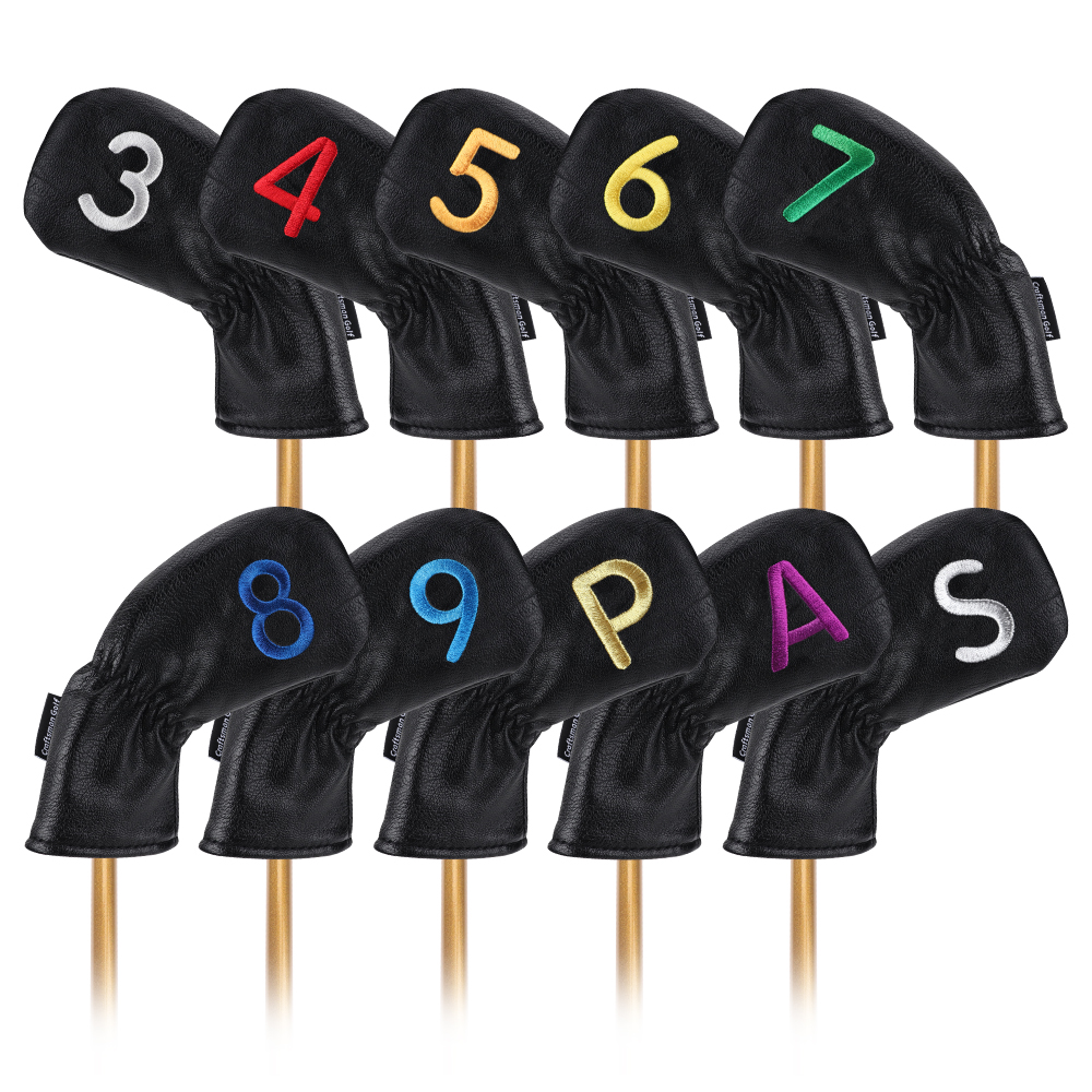 Iron Golf Club Covers Headcovers Black Set 10pcs Colorful Number# Leather Golf Head Protector Black