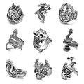Мужское кольцо в стиле панк, регулируемое в стиле ретро, с рисунком дракона, черепа, змеи, волка, в стиле хип-хоп, массивное Ювелирное Украшен...