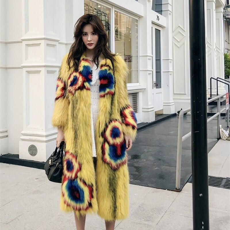 Winter Fox Korean Fashion Long Real Fur Coat For Women Clothes 2020 Manteau Femme YY291