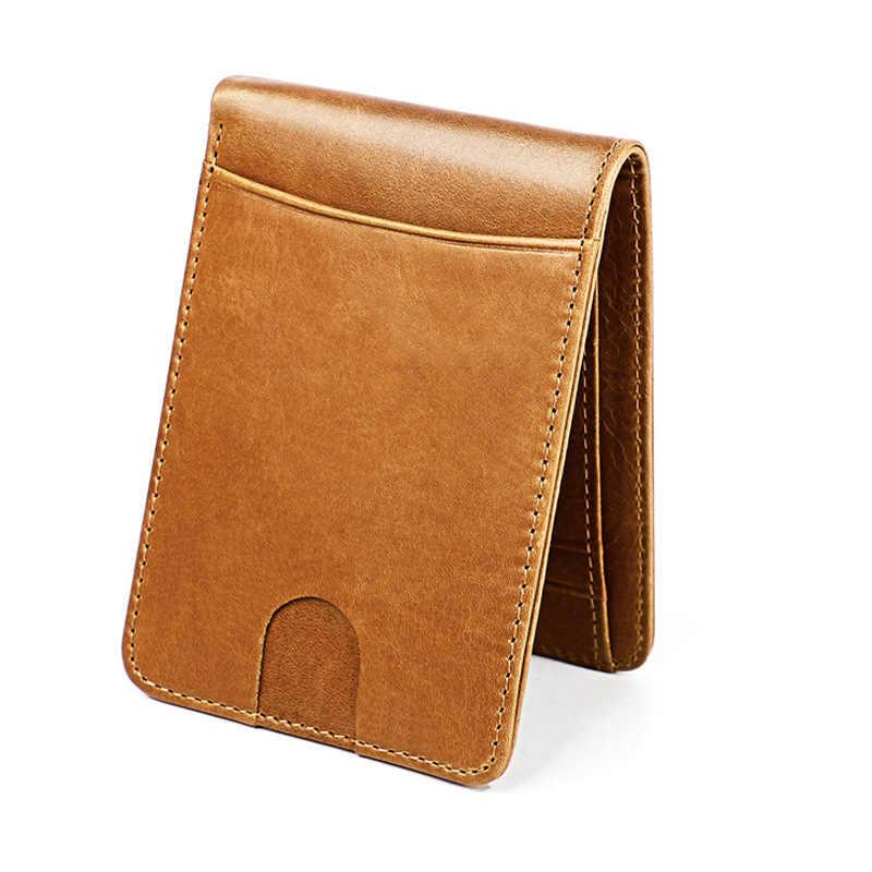 Rfid couro genuíno homem carteira curto carteiras bolsa para masculino saco de dinheiro mini walet alta qualidade meninos