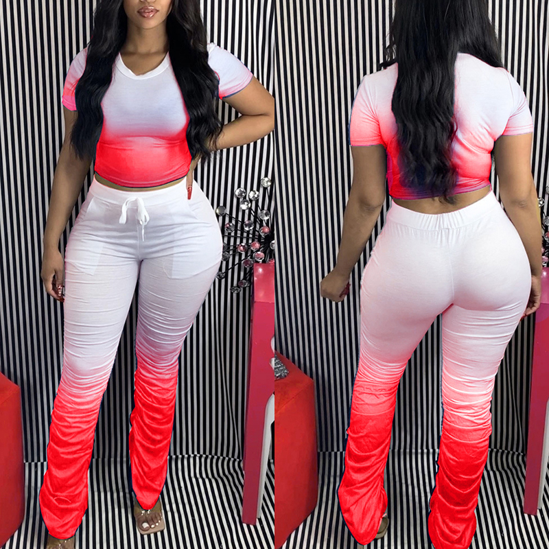 Jodimitty Women Tracksuits Two Pieces Set Gradient Short Sleeve Top Flared Pants 2 Pieces Set Pleated Pants Sports Suit Outfit 3