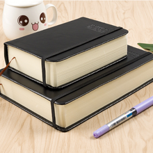 375sheets Very Thick Black Faux PU Notebook Ruled Paper Diar