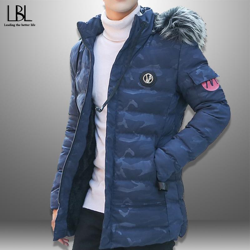 Men's Winter Parka 2019 New Fashion Men Hooded Jacket Thick Coat  Fur Collar Overcoats Warm Parkas Slim Outwear Hat Detachable