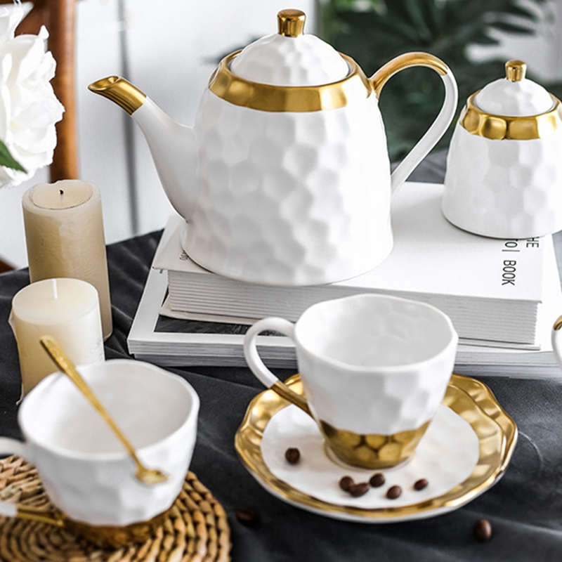 Ceramic Coffee Cup Set Simple Afternoon Teacup Tea Set with European Light Luxury Household Water Cup Teapot for Drinkware - 2