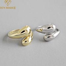 XIYANIKE-anillos lisos de Plata de Ley 925 para mujer, joyería de boda hecha a mano de moda coreana para parejas, oro Vintage de plata geométrica