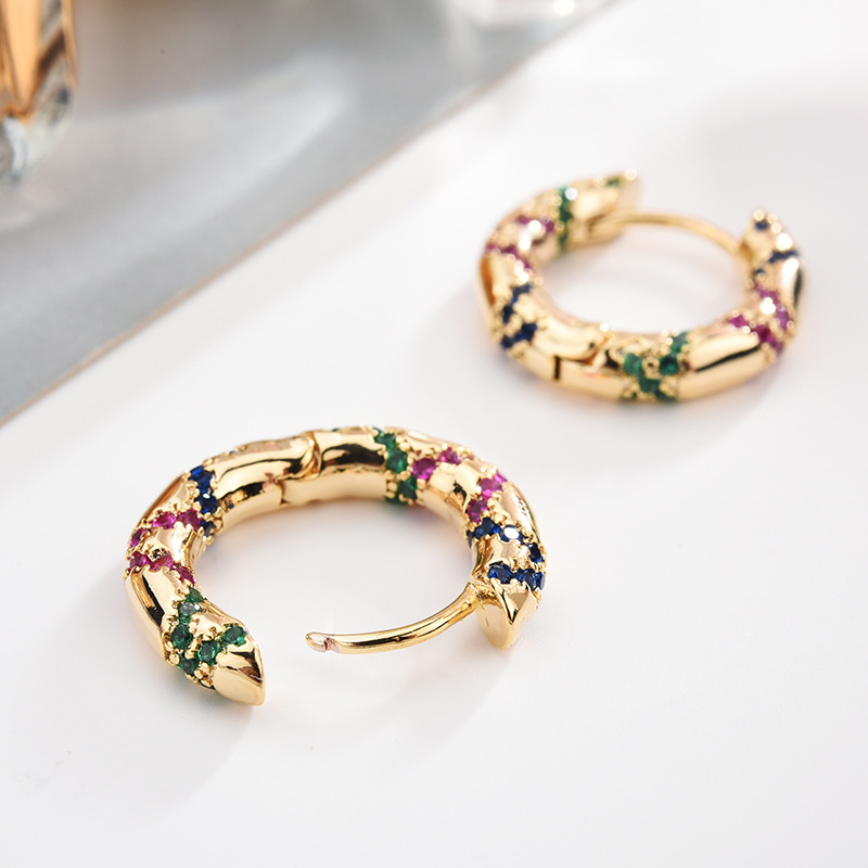Newest Gold Color Small Hoop Earrings For Ladies Women Round Vintage Ethnic Earring Jewellery Birthday Gift Anti Allergy Zk30