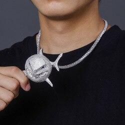 6ix9ine shark pendant savage shape AAA zircon full of zircon cute hip hop trendy men Necklace