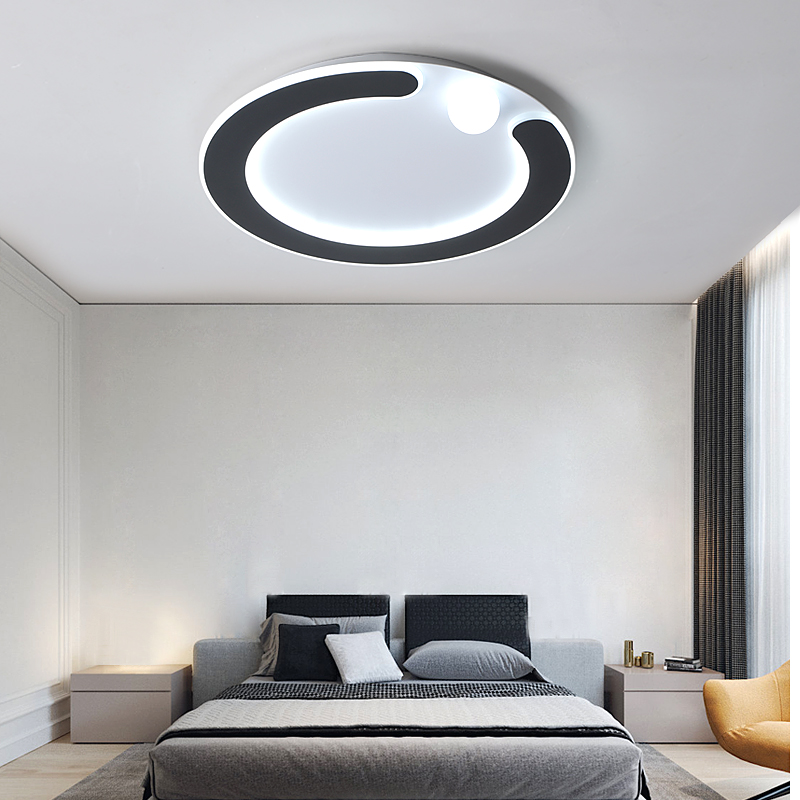 New Modern Ultra-thin Ring LED Ceiling Lights For Living Room Bedroom Dining Room Luminaires Black/White Ceiling Lamps Fixtures