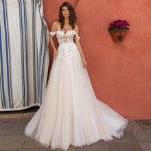 Платье женское свадебное ТРАПЕЦИЕВИДНОЕ с открытыми плечами и цветочным кружевом