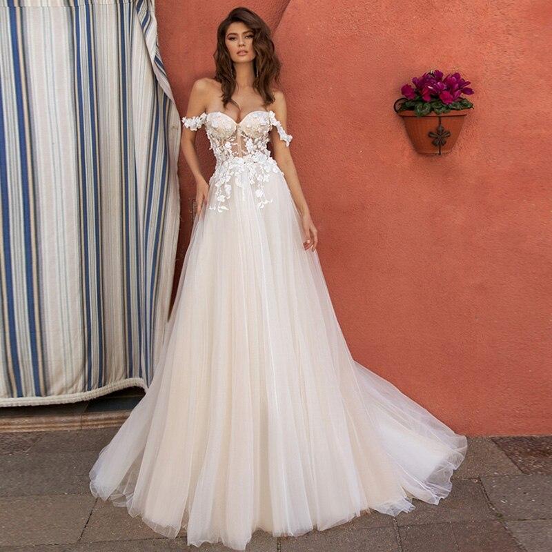 Verngo A-line Boho Wedding Dress Elegant Off The Shoulder Wedding Gowns Lace Flower Simple Bride Dress Backless Abito Da Sposa