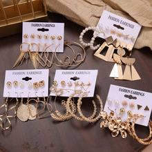 Es 12 par/set de las mujeres pendientes de gota pendientes para las mujeres, joyería de moda Vintage geométricas pendientes de perla de cristal