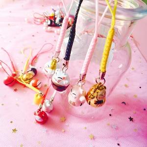 Image 3 - 40pcs Kawaii טלפון רצועות חמוד מזל חתול פעמון טלפון קסם שרשרות DIY טלפון אביזרי