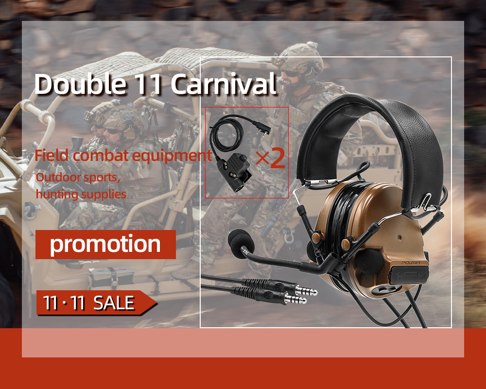 TAC-SKY COMTAC III Double Pass Silicone Earmuff Version Noise Reduction Tactical Headset + 2 Military Adapter KENWOOD U94 PTT