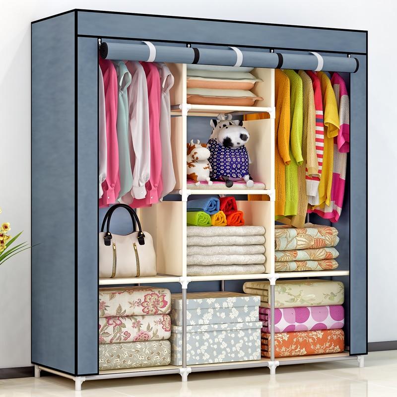 EU RU Free shipping Non-woven fold Portable Wardrobe Clothes Storage Cabinet Bedroom Furniture шкаф для одежды armadio bambini