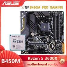 ASUS TUF B450M PRO oyun anakart combo kiti set Ryzen 5 3600X AM4 CPU DDR4 B450