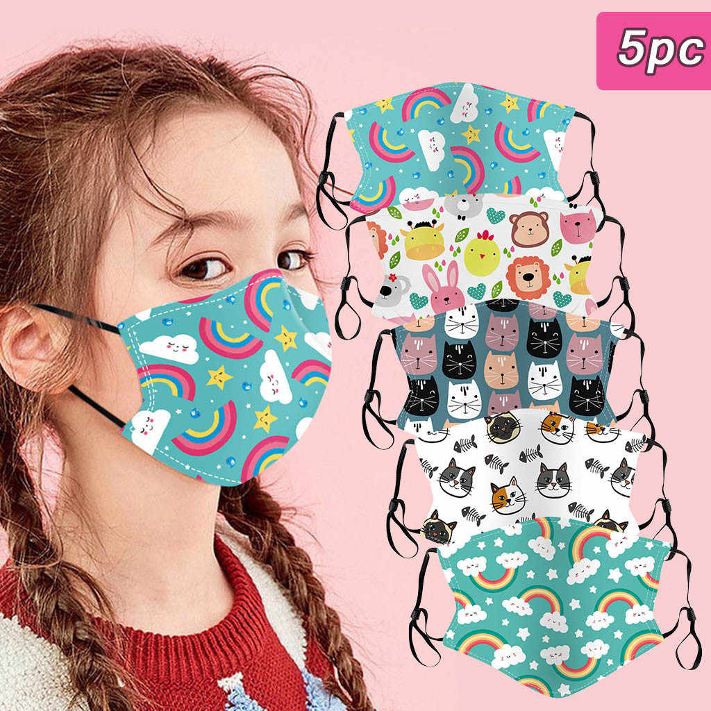 5Pc Kids Kinderen Facial Bekledingen Outdoor Katoen Herbruikbare En Wasbare Filters Camping Cosplay Dropshipping In Stocck # A35