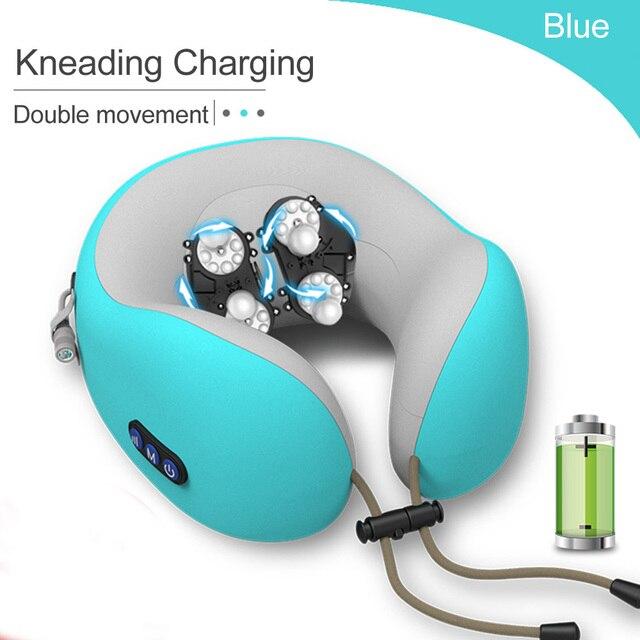 JINSERTA Elektrische Massage Nacken Kissen Kopfstütze Reise Kissen Therapie U geformte Kissen Massager für Home Office Rest
