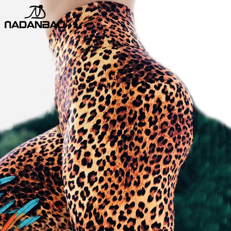 NADANBAO Classic Leopard Leggings For Women Workout Leggings Feather Print Ankle-Pants Fitness Leggins Sporting Slim Sweatpants