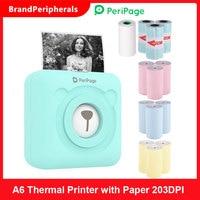 PeriPage A6 휴대용 열전사 프린터 용지 포토 포켓 프린터 58mm 인쇄 무선 연결 미니 프린터 10 일 배송