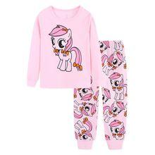 Детская Пижама tuonxye с изображением мультяшных лошадей одежда