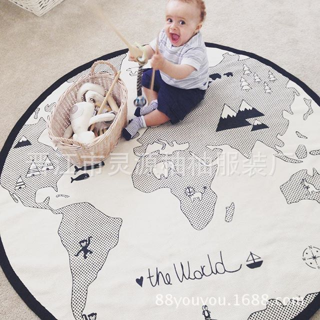 INS New Style Adventure World Map Baby Earth Game Blanket Crawl Pad Children Room Decorations