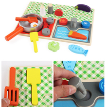 Children Play House Real Life Kids Wooden Kitchen Toys Set Pots and Pans Cooking Utensils Gas Stove Fruit Pretend Play Toys Gift children play simulation kitchen cooking utensils
