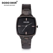 цена на relogio masculino DODO DEER Men Watch Wood Ebony Watches Timepieces Sport Watch Quartz Wristwatch in wooden Boxes Dropship C02