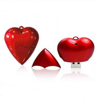 Custom logo Plastic Red Novelty Heart Design usb 2.0 memory flash stick pen drive