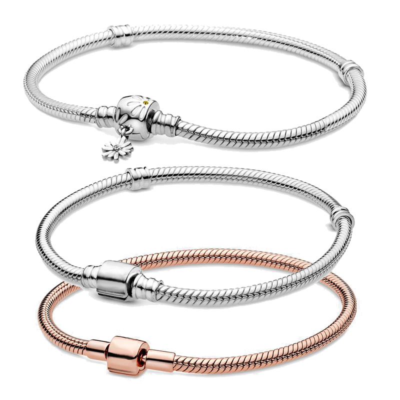 2020 New  Spring Collection 100% 925 Solid Silver Barrel Clasp Daisy Flower Clasp Clasp Snake Chain Bracelet Women Jewelry