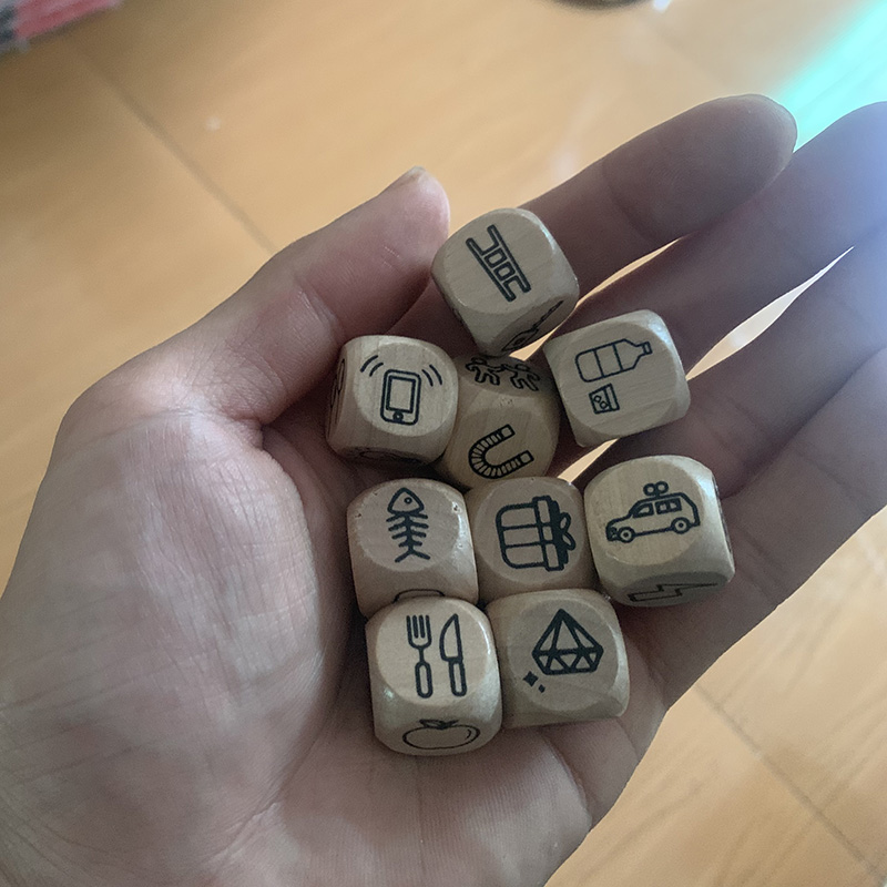 Imagine Language Toys Wooden Dice Funny Telling Story Dice  Education Game For Kids Gift Bag