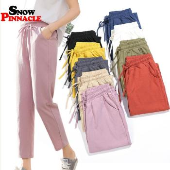 Womens Spring Summer Pants Cotton Linen Solid Elastic waist Candy Colors Harem Trousers Soft high quality for Female ladys S-XXL 1