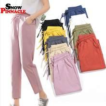Bayan bahar yazlık pantolonlar pamuk keten katı elastik bel şeker renk Harem pantolon yumuşak yüksek kaliteli kadın bayan S-XXL