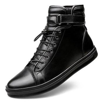mens casual large size genuine leather boots black autumn winter shoes flat platform ankle boot zapatos de hombre bota masculina