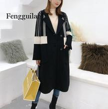 цена на Autumn Winter Turn-down Collar Full Sleeve Fleece Black Thick Fashion Contrast Color Plus Size Woolen Coat