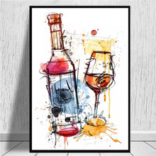 Modern Red Wine and Glass Canvas Painting Posters and Prints Quadros Wall Art Pictures for Living Room Wall Decoration Cuadros