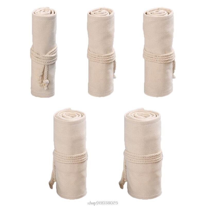12/24/36/48/72 Holes Canvas Roll Up Pen Curtain Pencil Bag Case Makeup Wrap Holder Storage Pouch Ja21 21 Dropship