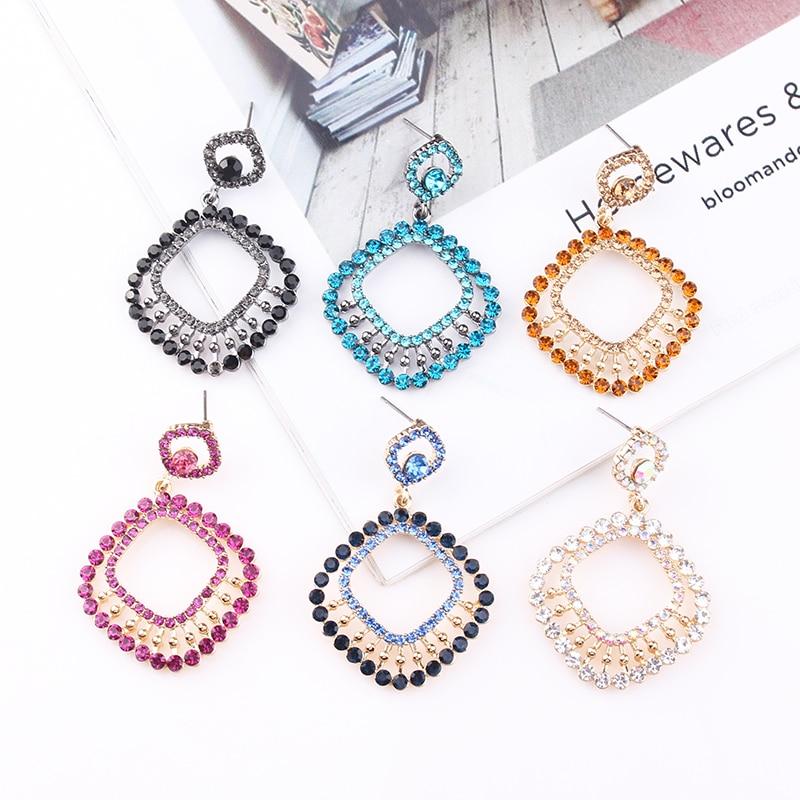 LUBOV Shining Crystal Rhinestone 3 Square Hoops Pendant Dangle Earrings Geometric Round Circle Drop Earrings Women Jewelry Gift in Drop Earrings from Jewelry Accessories