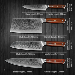 Image 2 - XINZUO 4PCS Kitchen Knife Set VG10 Damascus Steel Big Cleaver Chef Knives Stainless Steel Santoku Butcher Knife Rosewood Handle