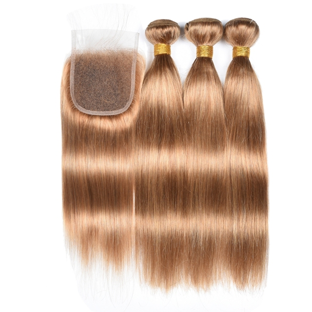 Honey Blonde Bundles With Closure Remy 27 Bundles With Closure Brazilian Hair Weave Straight Human Hair 3 Bundles With Closure 4